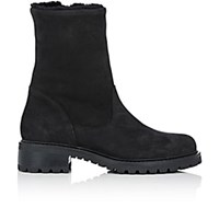 Barneys New York Shearling Lined Side Zip Ankle Boots Black