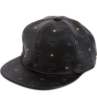 Mcm Visetos Studded Logo Baseball Cap Black