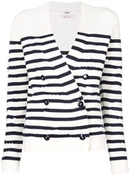 Barrie Striped Double Breasted Cardigan White