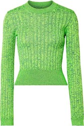 Maison Martin Margiela Mm6 Space Dyed Ribbed Knit Sweater Green