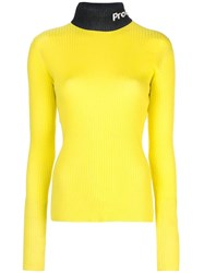Proenza Schouler Pswl Logo Knit Long Sleeveturtleneck Top Yellow
