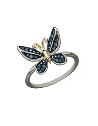 Lord And Taylor 14K Yellow Gold Sterling Silver And Diamond Butterfly Ring Green Diamond Silver