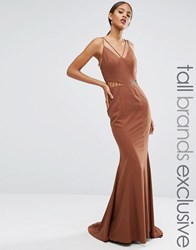 Jarlo Tall Strappy Maxi Dress With Waist Cutout Detail Chocolate Brown