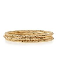 Lydell Nyc Textured Golden Stacking Bracelets Set Of 3