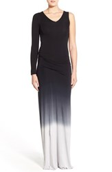 Young Fabulous And Broke Women's Young Fabulous And Broke 'Vinny' One Sleeve Ombre Maxi Dress Black Ombre