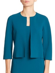 Michael Kors Stretch Wool Crepe Short Jacket Peacock