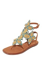 Tory Burch Palisade Flat Sandals Burch Tan Multi