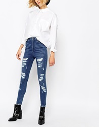 Waven High Rise Skinny Jeans With All Over Rips And Distressing Brandblue
