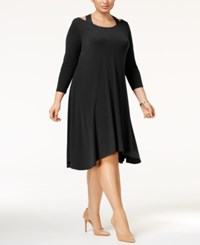 Alfani Plus Size Cutout Fit And Flare Dress Only At Macy's Deep Black