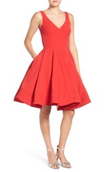 Ieena For Mac Duggal Women's Double V Neck Fit And Flare Party Dress Red