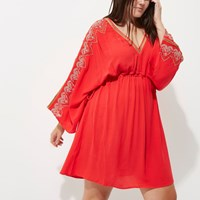 River Island Plus Red Long Sleeve Kimono Dress