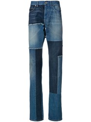 Lanvin Patch Slim Fit Jeans Blue