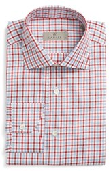 Canali Men's Big And Tall Regular Fit Check Dress Shirt Red
