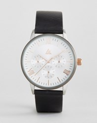 Asos Watch With Black Strap And Mixed Metal Case Black