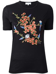 Carven Floral Embroidery T Shirt Black