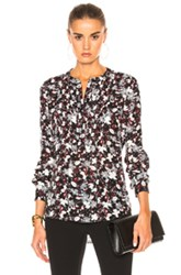 Veronica Beard Goldie Pintuck Top In Black Red Floral Black Red Floral