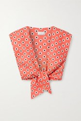 Miguelina Marcy Cropped Tie Front Floral Print Linen Top Coral