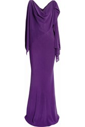 Gareth Pugh Draped Silk Blend Chiffon Gown Purple