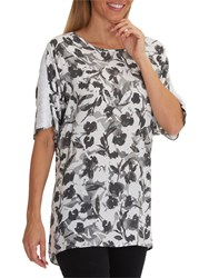 Betty Barclay Floral Print Tunic Top White Grey