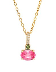Lord And Taylor Tourmaline Diamond Pendant Necklace Gold
