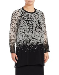 Calvin Klein Plus Long Sleeve Printed Crepe Tunic Black Ombre