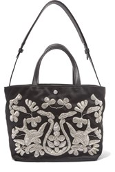 Elizabeth And James Eloise Zardozi Embroidered Satin Tote Black
