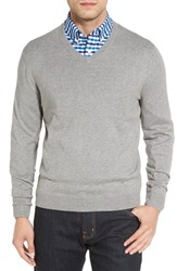 Nordstrom Men's Big And Tall Men's Shop Cotton And Cashmere V Neck Sweater Grey Heather