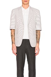 Thom Browne Short Sleeve Seersucker Blazer In Gray Stripes Gray Stripes