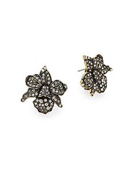 Heidi Daus Budding Bloom Crystal Flower Earrings Gold