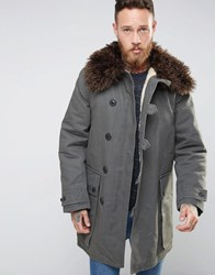 Nudie Jeans Connor Parka With Faux Fur Collar Khaki Green