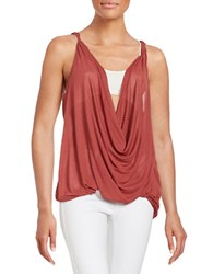 Free People Ribbed Draped Tank Top Crimson Red