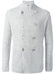 Brunello Cucinelli Double Breasted Ribbed Cardigan Grey