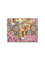 Gucci Bengal Card Case Women Leather Canvas One Size Brown