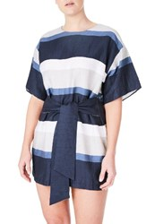 Elvi Plus Size Women's Blue Stripe Linen Blend Minidress
