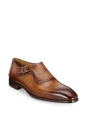 Saks Fifth Avenue Collection Laser Cut Monk Strap Dress Shoe Tan
