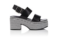 Barneys New York Women's Striped Platform Leather Slingback Sandals Black White