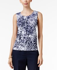 Kasper Printed Pleated Shell Indigo Ivory