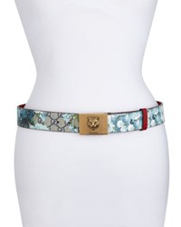 Gucci Gg Supreme Blooms Belt W Tiger Buckle Navy