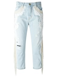Amen Embroidered Jeans Blue