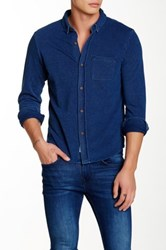 Native Youth Long Sleeve Button Down Shirt Blue