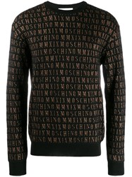 Moschino Jacquard Logo Knitted Sweater Black