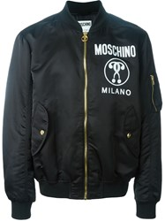 Moschino Double Question Mark Print Bomber Jacket Black