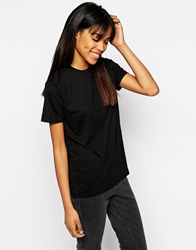 Minimum High Neck T Shirt With Capped Sleeves Black
