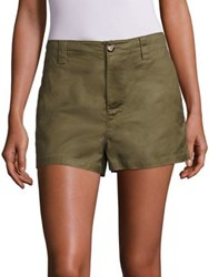 Moncler Solid Cotton Shorts Olive