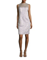 Teri Jon Crocheted Jacquard Dress Silver