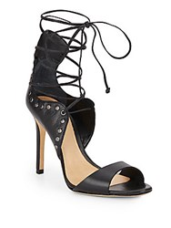 Schutz Annabelle Studded Leather Lace Up Pumps Black
