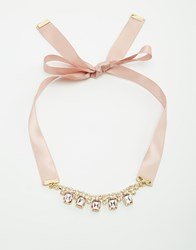 Neve And Eve Ribbon Tie Statement Necklace Pink