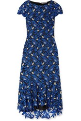 Alice Olivia Cleora Ruffled Metallic Guipure Lace Midi Dress Bright Blue