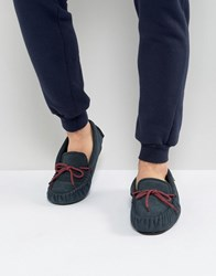 Dunlop Moccasin Slippers In Navy Suede Blue
