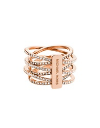 Michael Kors Crystal And Rose Goldtone Criss Cross Ring